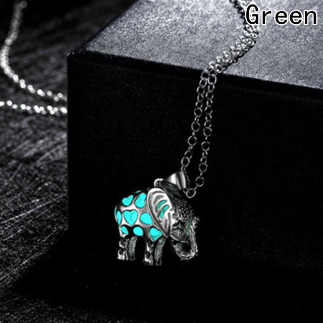 Glow In The Dark Necklaces Locket Luminous Stone Animal Thailand Elephant Pendant Necklaces