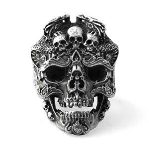 Sterling Silver Skull open rings for man  Vintage  fashion jewelry gift for your boyfriend