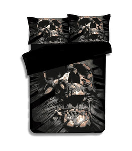 3D Black Skull Printed Duvet Cover Set 2/3pcs Single Double Queen King Bedclothes