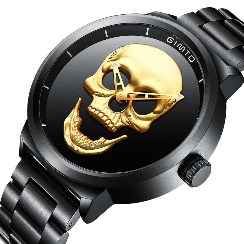 Unique Design Skull Watches Men Luxury Brand Sports Quartz Military Steel Wrist Watch