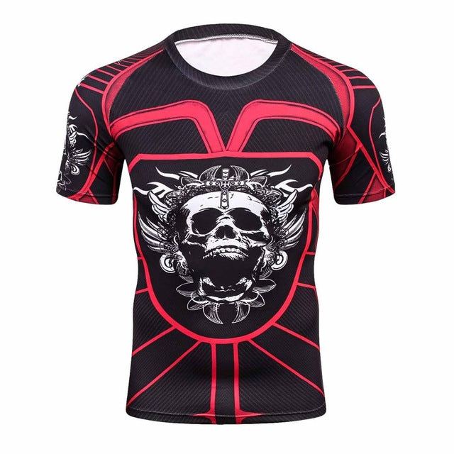 3D compression shirt fitness tights T-shirt crossfit quick dry t shirt Men Summer Cool Tees