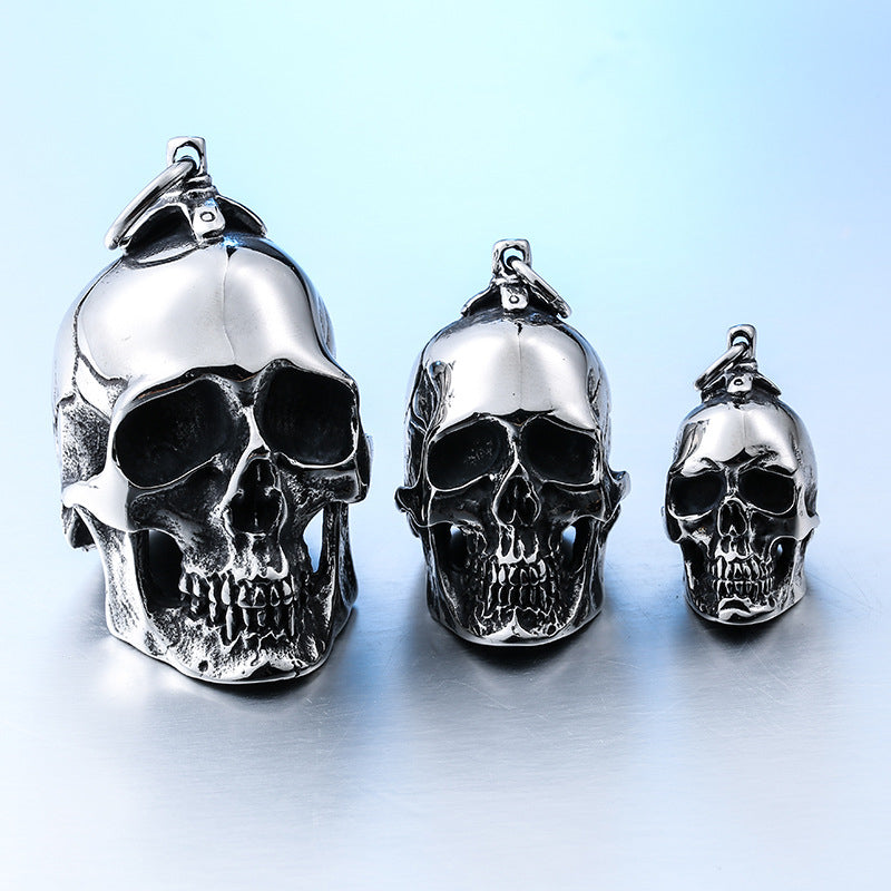 Large 3D Skull Pendant Necklace For Men 316L Stainless Steel  Biker Punk Vintage Jewelry Silver Color