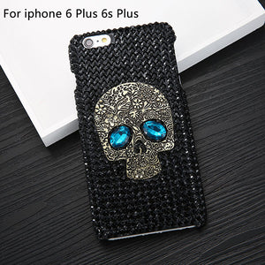 Cool 3D DIY Diamond Blue Eye Skull Phone Cases For iPhone 8 7 6 6s Plus 5 5s SE Case For Samsung galaxy S8 Plus S6 S7 edge Cover