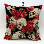 New Pillowcase Halloween Skull Cushion Cover Cotton Linen  Printed Throw Pillows