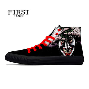 Punk Skull High Top Shoes Men Classic High Canvas Shoes Fashion 3D Street Nice Printed