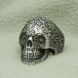 Punk Style Flower Skull Biker Ring Fashion Skeleton Jewelry