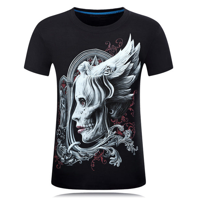 3d Skull Cotton T Shirts Fashion 2017 Summer New Brand T Shirt Men Hip Hop Men T-Shirt