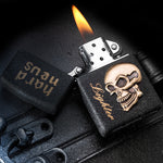Universal Frosted lighters flints stone petrol matte oil lighters Men lighters Personal Retro Metal skull Cigarette lighters
