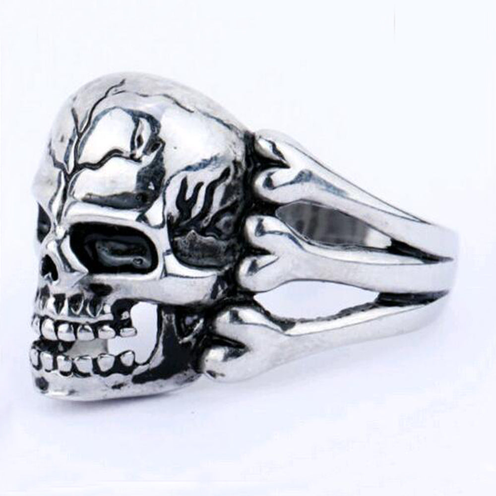 Man's Ring Gothic Men's Skull Flower Biker Zinc alloy Ring Man fashion rings