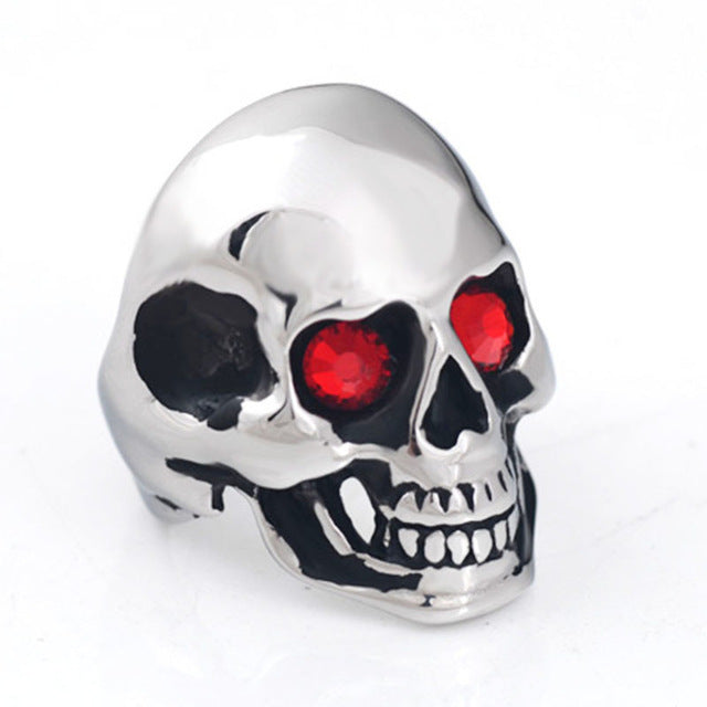 Gothic Punk Biker Rider Red/Blue Eyes Ring Vintage Stainless Steel Skeleton