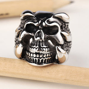 Silver Dragon Claw Ring Men Skull Rings US Size New Punk Rock Mens Biker Rings Vintage Gothic
