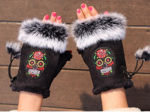 Fashion Winter Gloves Skull Embroider Women Gloves winter