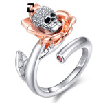 Skeleton Skull Clear Zircon Ring  for Women Silver Color Flower Rose Opening Rings charm Fashion