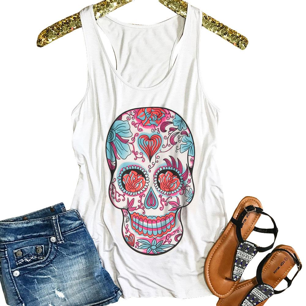 Women Sugar Skull Floral Racerback Tank  Fashion Funny Pattern Sleeveless O Neck Top Tee