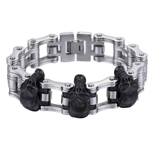 Men's Bracelet 316L Stainless Steel Biker Wristband Skulls Motorcycle Link Chain Punk Jewelry
