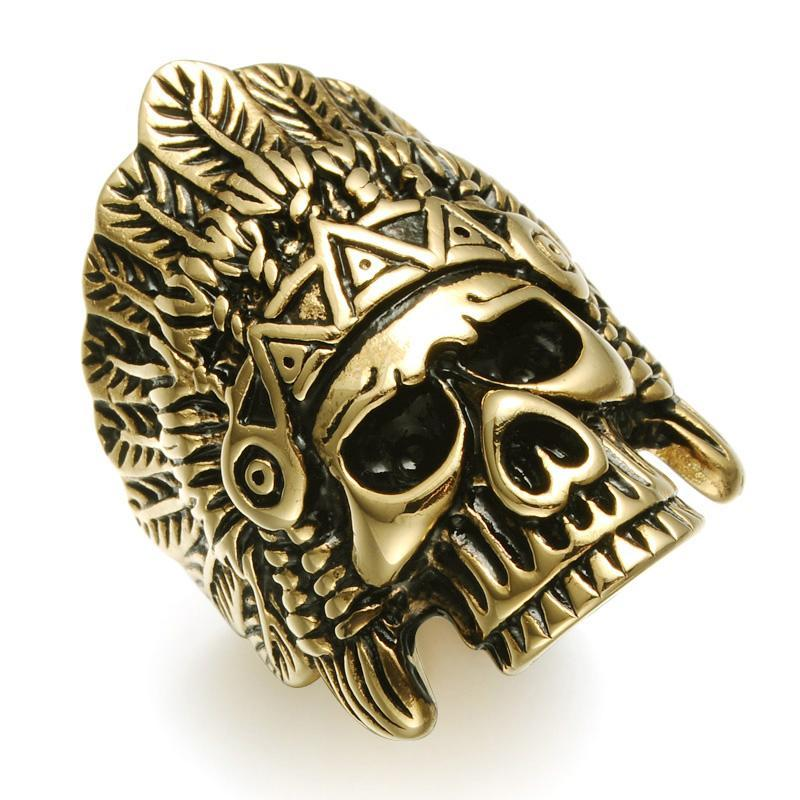 Crown Indians Chief Skeleton Skull Mens Ring Punk Gothic Gold Silver Titanium Stainless Steel Rings