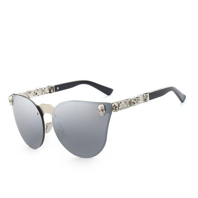 Sunglasses Women Brand Design Skull Metal Temple Sun glasses Gold Eyewear Accessories