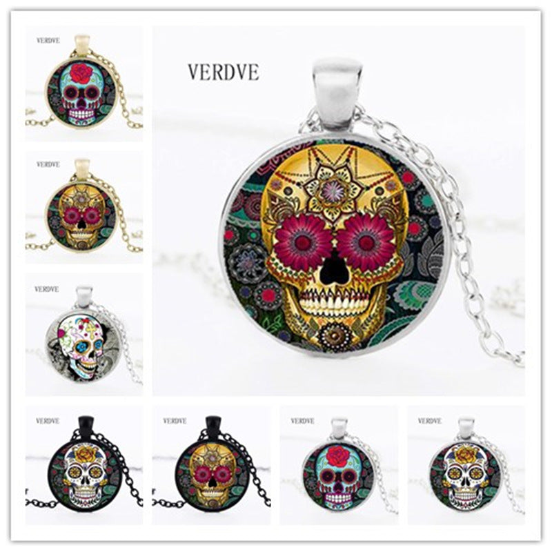 Hot Fashion Classic Mexican Sugar Skull Pendant Necklace Silver Color Chain Day Dead