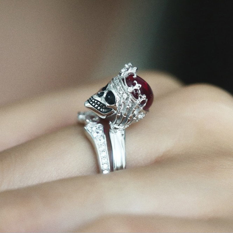 Punk Rock Gothic Red Cystal Wedding Rings For Women Ring Set Silver Pair Ring Bridal