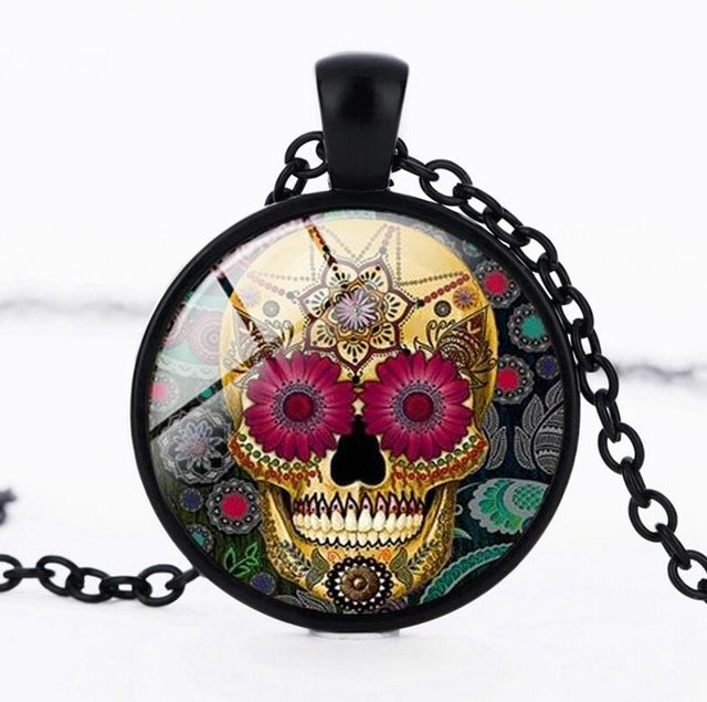Sugar Skull Necklace Glass Crystal Skeleton Pendant Silver Color Chain Long Necklaces