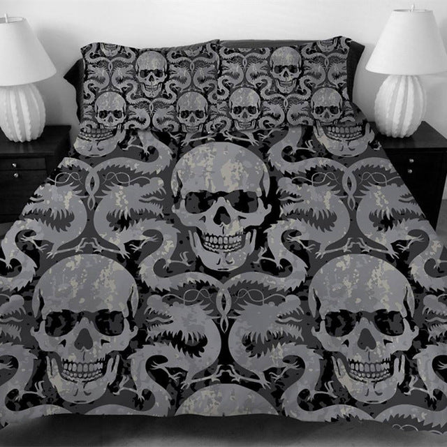Duvet coves for King Size Bed Europe Style 3D sugar skull Bedding Set with pillowcase