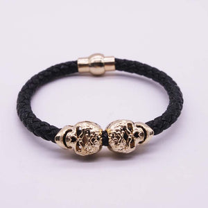 Hot Selling Fashion Braided Leather Bracelets Gold Skull Bracelet Punk Wrap Bracelet