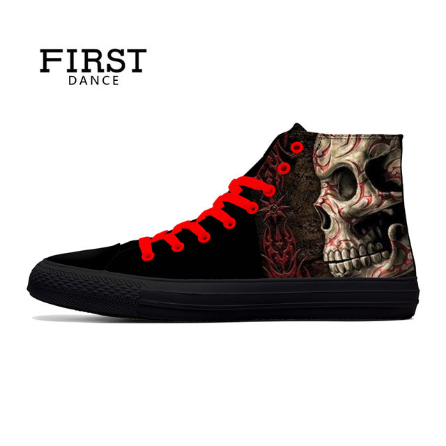 Classic Canvas Men Casual Shoes Fashion High Top Shoes Men Printed Canvas Sneakers