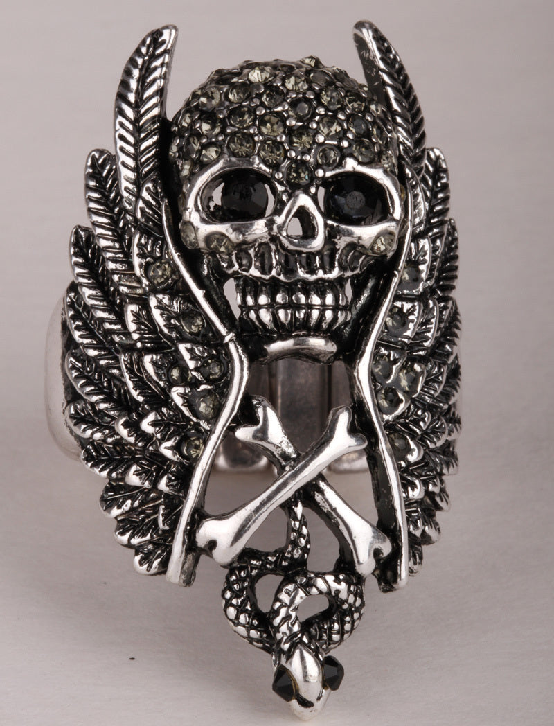 Skull wings cross snake stretch ring for women biker gothic jewelry antique silver color