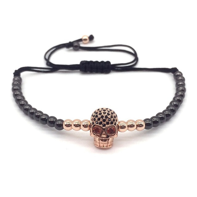 New Style Pave Black CZ Beads Skull Series  Round Beads Men Braided Macrame Charm Bracelets Jewelry