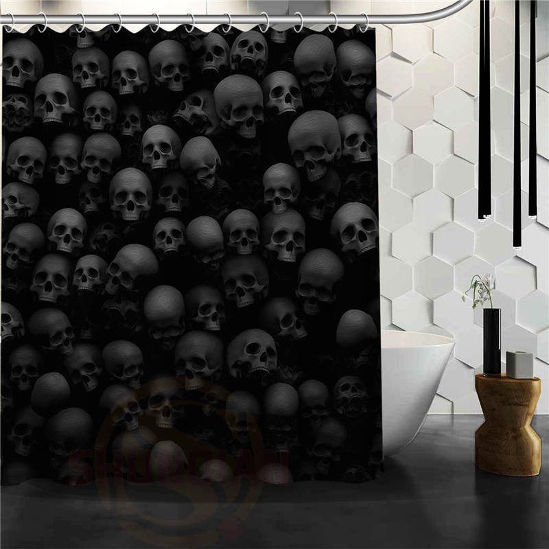 Skull Shower Curtains Bathroom Mildewproof Polyester Curtains Waterproof Fabric with Hooks