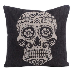 Linen Skull Throw Sofa Cashion Pillow Case Cover BedRoom