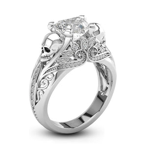 Stone Silver Punk Skull Promise Ring for Women Fashion Jewelry