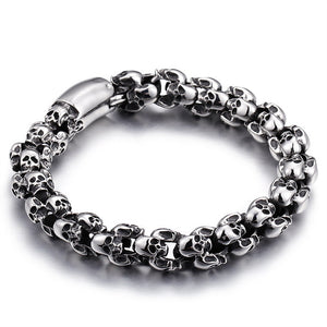 Stainless Steel Shiny Skull Charm Link Chain Brecelets Male Gothic Jewelry