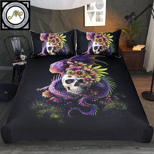 Purple Flower Duvet Cover Monster Floral Bed Set 3-Piece