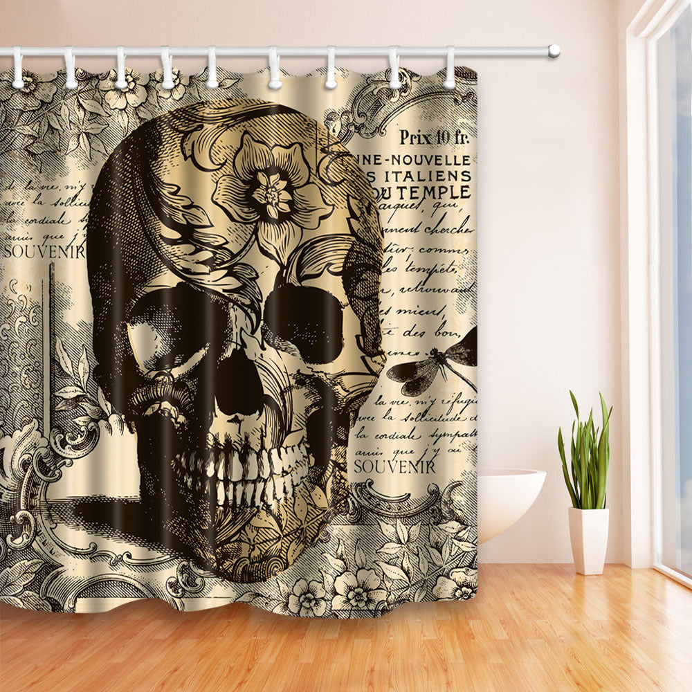 Waterproof  Polyester Shower Curtain Bathroom Curtain with Hooks Skull Unicorn