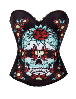 New Design Sugar Skull Corset Top Multi-Colour with Skull & Flowers