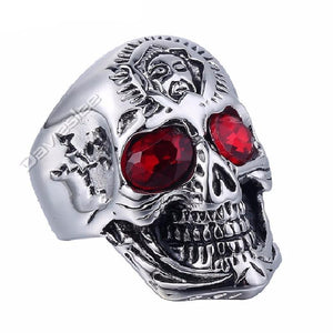 Stainless Steel Big Skull Ring w/ Red Rhinestones US Size 8-13 Wholesale Gift Jewelry