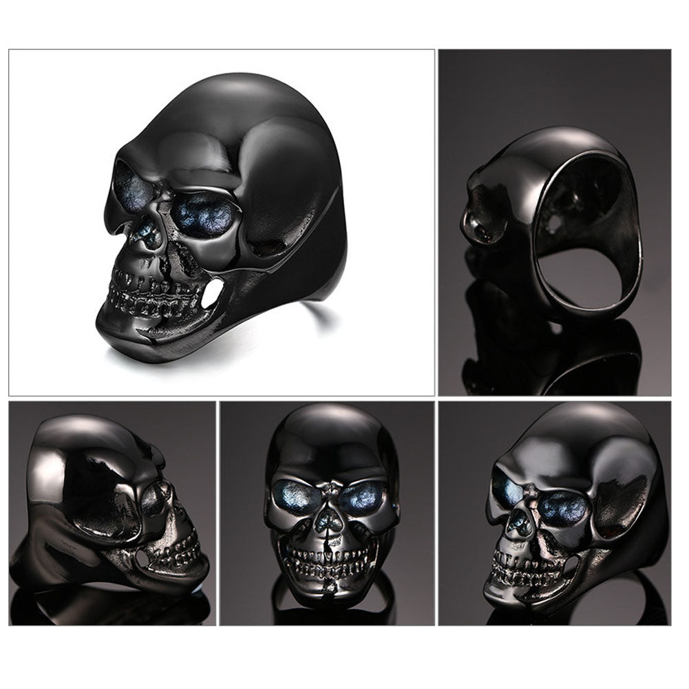 New Gothic Mens Punk Motorcycle Biker Ring Fashion Black Skull Skeleton Cool Man Finger Rings