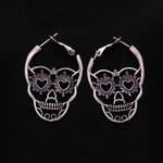 Vintage Antique Silver Color Love Heart Eyes Skull Hoop Earrings for Women