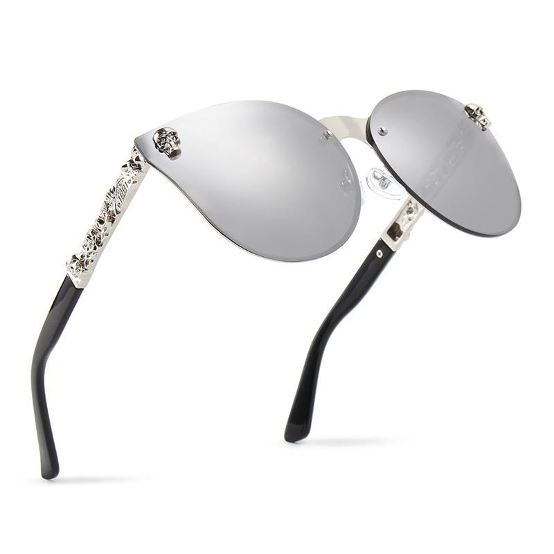 Luxury Brand Fashion Women Gothic Mirror Eyewear Skull Frame Metal Temple Oculos