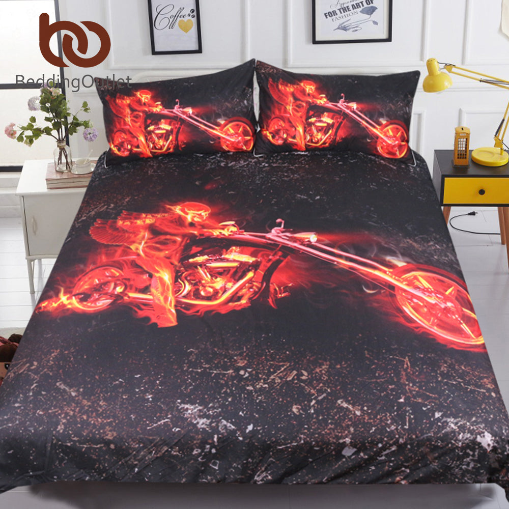 Flame Motorcycle Bedding Set Queen 3D Printed Duvet Cover Red And Black Bedclothes