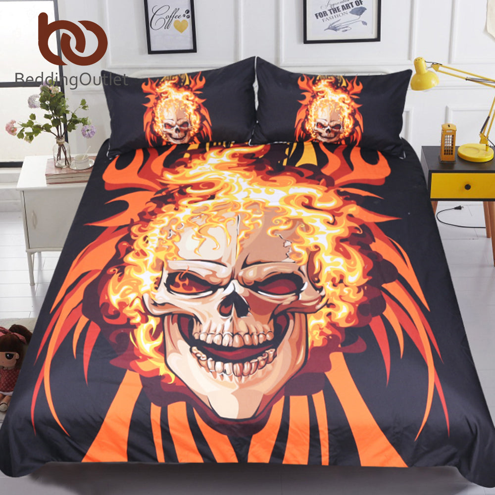 Angry Skull Bedding Set King 3D Printed Duvet Cover Flame Fire Bedspread 3pcs Fashion Orange