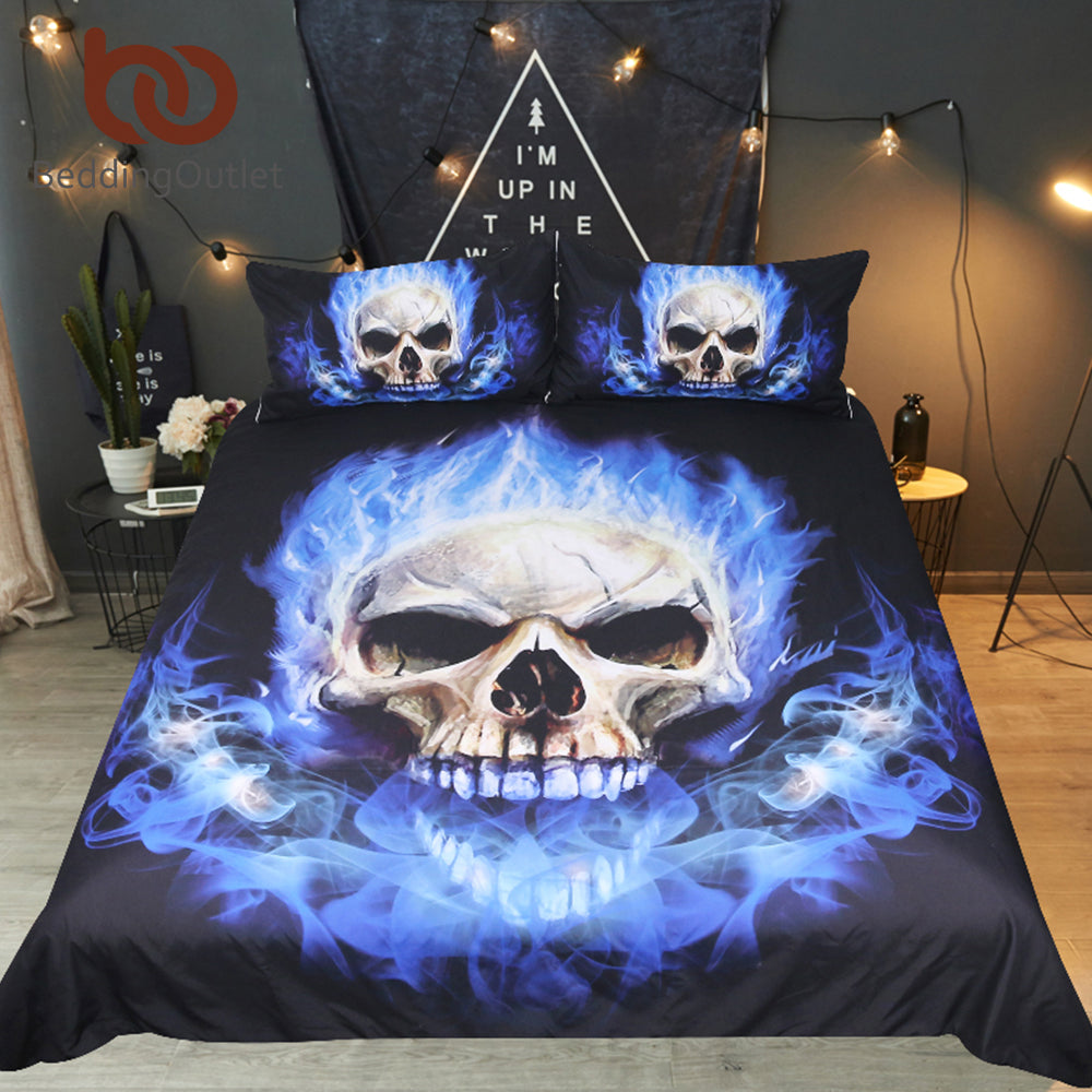Flame Skull Bedding Set King 3D Printed Duvet Cover Blue Fire Bedclothes 3pcs Fashion