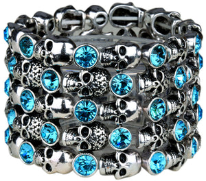 Stretch Cuff Bracelet for Women Biker Bling Crystal Jewelry Antique Silver Color