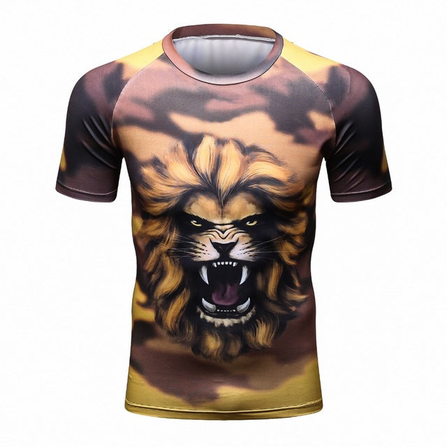 Fitness MMA Compression Shirt Men Anime Bodybuilding Short Cool skull 3D Printed