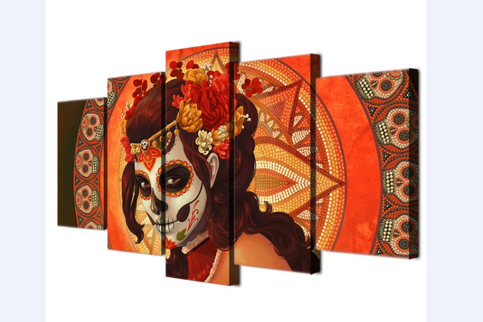 Paintings Mexican Halloween Skull Skull Head Wall Paintings Wall Background Wall Paintings