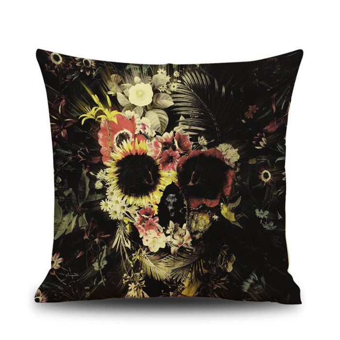 Practical Boutique Halloween Skull Pattern Square Throw Pillow Case Cushion Cover Sofa Decor