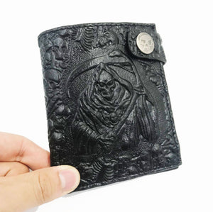 New Skull Embossing PU Leather men Wallet Zipper Around Men Wallets with Coin Pocket Card Holders short Man Purses