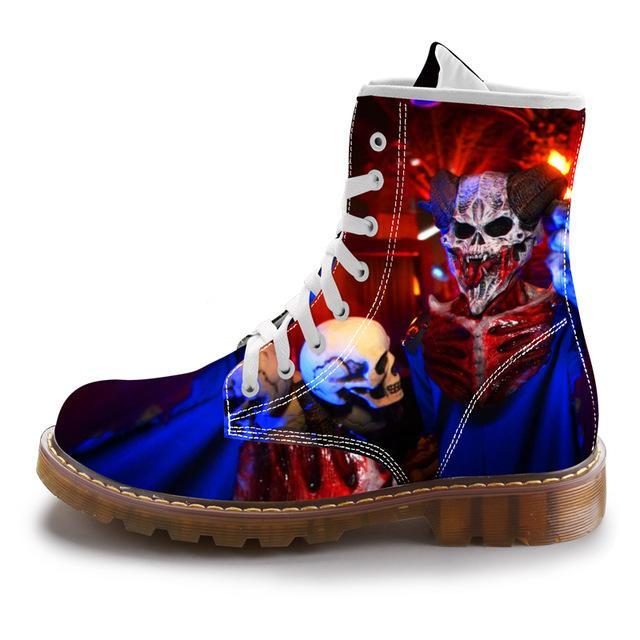 Street Fashion Mid-Calf Boots Men Dr Martins Black Skull Shoes Cotton Spring