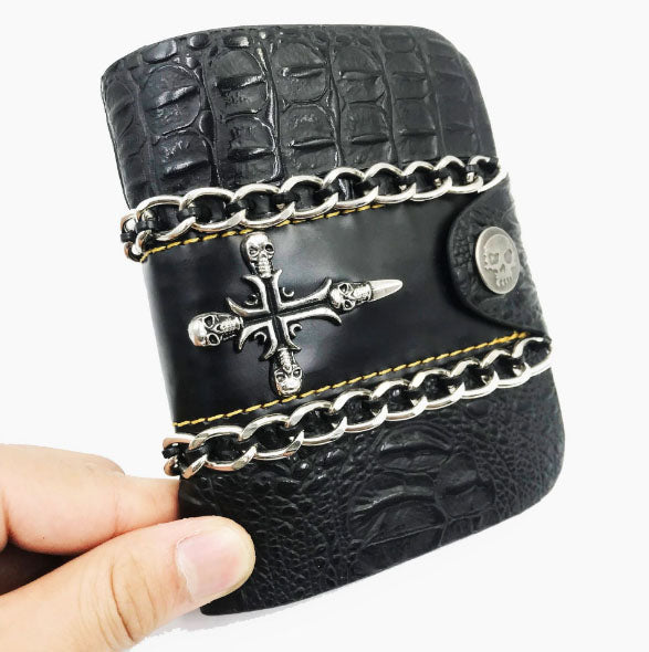 Wallet Punk  Skull Head Rivets Short Purse Male Criss Cross Clutch Wallets With Weave Chain